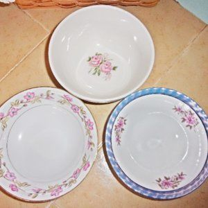 Mismatched Serving Bowls Pinks / Purple Floral